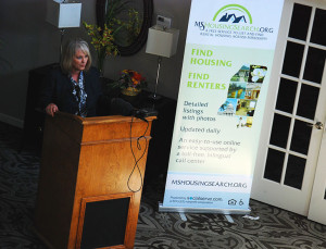 Dianna Mikula, executive director for the Department of Mental Health, speaks at the MSHousingSearch.org public launch on Aug. 26 in Jackson.